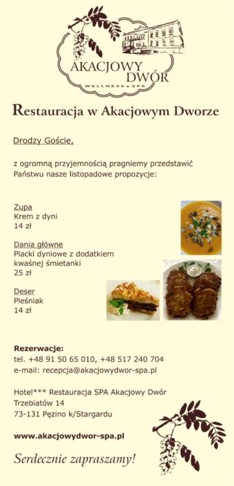 Restauracja Akacjowy Dwór - menu na listopad